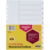 MARBIG PLASTIC DIVIDER A4 Indices 1-10 White