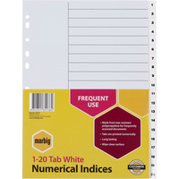 MARBIG PLASTIC DIVIDER A4 Indices 1-20 White