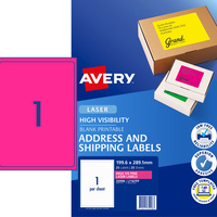 AVERY L7167FP LASER LABELS 1/Sht 199.6x289mm Fluoro Pink Pack of 25