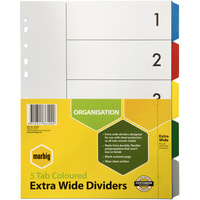 MARBIG PLASTIC DIVIDER Extra Wide A4 5 Tab Multi Colour