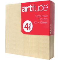 ARTITUDE CANVAS 12 x 12 Inch Thin Edge Board Pack of 4