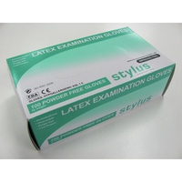 STYLUS LATEX GLOVES Cream Powder Free Small/Medium Box of 100