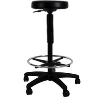 WERK CXR HIGH PADDED STOOL Black With Foot Ring