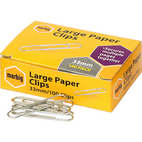MARBIG PAPER CLIPS Large 33mm Chrome Box of 100