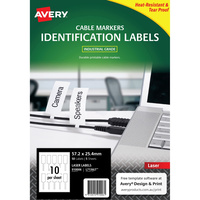 AVERY L7136LT WHITE CORD TAGS 57.2X25.4mm Printable