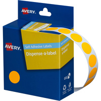 AVERY DMC14FO DISPENSER LABEL Circle 14mm Fluro Orange Pack of 700
