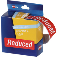 AVERY DISPENSER LABELS PRINTED Reduced Red/White 19x64mm Pack of 125