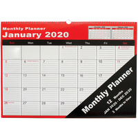 CUMBERLAND WALL PLANNER Month To View Wiro Bound 530X390Mm White/Blue
