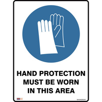 SAFETY SIGNAGE - MANDATORY Hand Protection Must Be Worn 450mmx600mm Metal