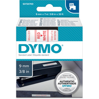 DYMO D1 LABEL CASSETTE TAPE 6mm x 7M Red on White