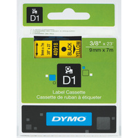 DYMO D1 LABEL CASSETTE TAPE 9mm x 7m Black on Yellow