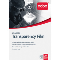NOBO TRANSPARENCY FILM Universal Inkjet and Laser Pack of 25